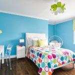 Дизайн спальни с голубыми стенами