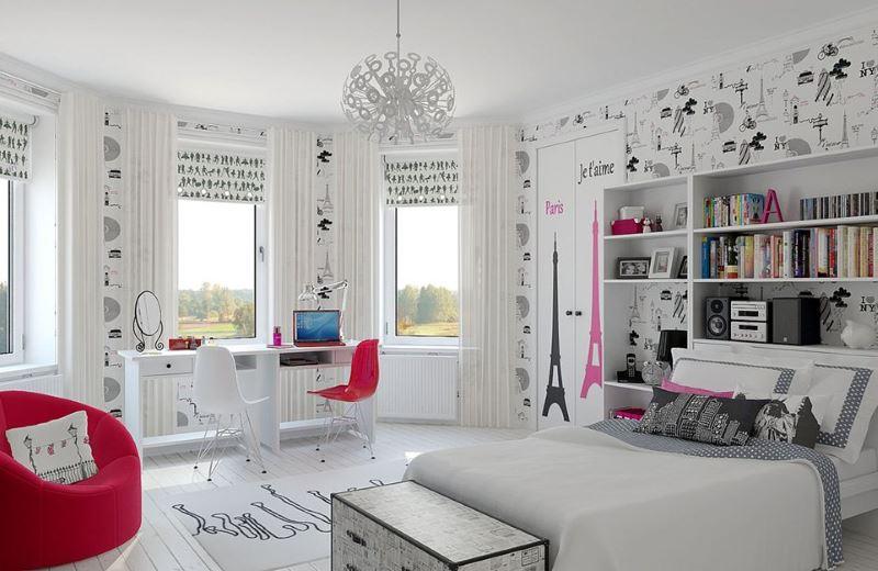 Интерьер светлой комнаты для современной девушки