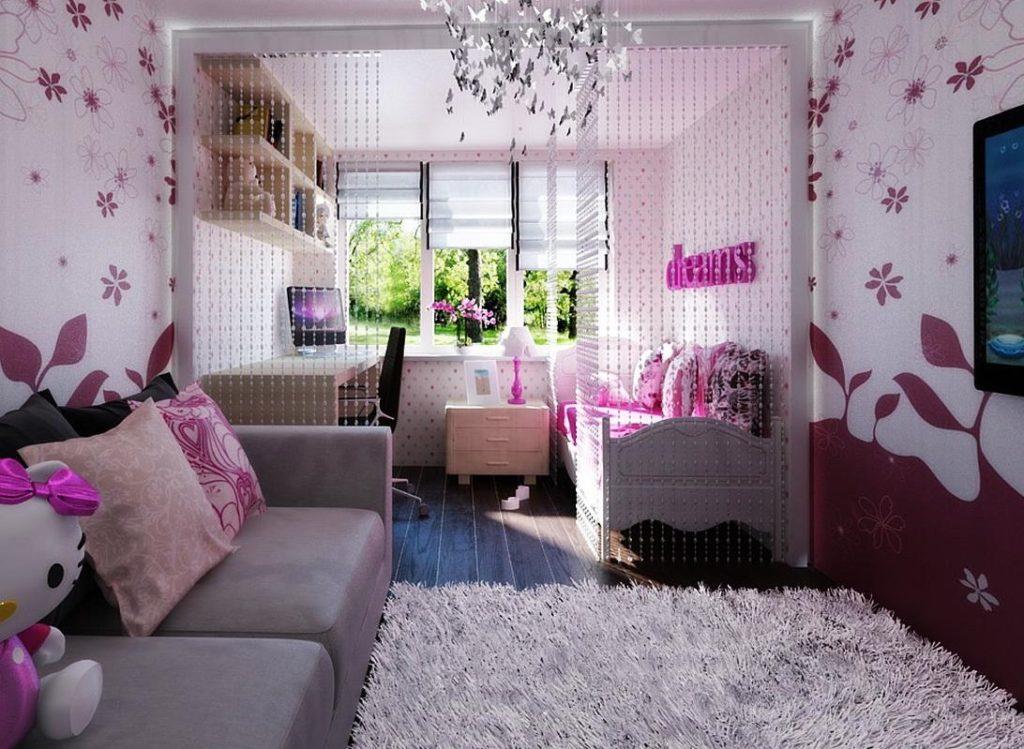 Бумажные обои с цветами в дизайне комнаты для девушки