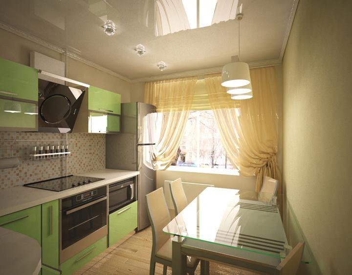 Стол со стеклянной столешницей в интерьере квадратной кухни