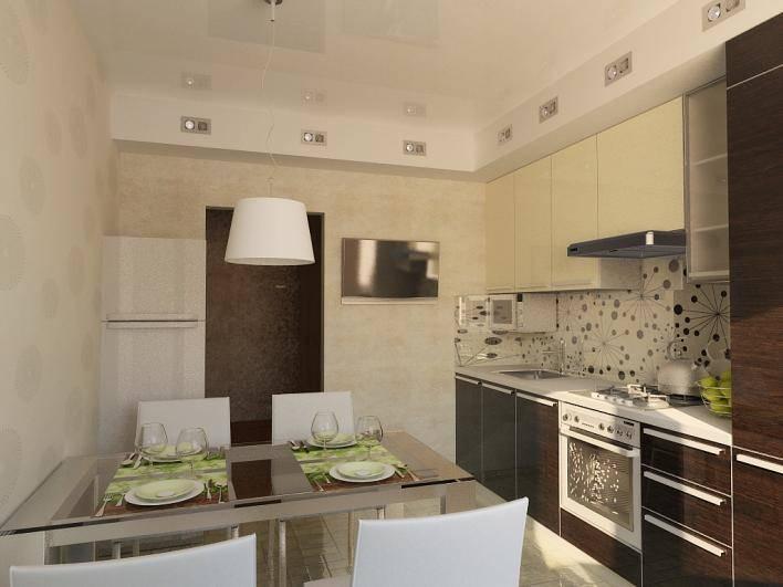 Подвесной потолок с встроенными светильниками в интерьере кухни размерами 3 на 3 м