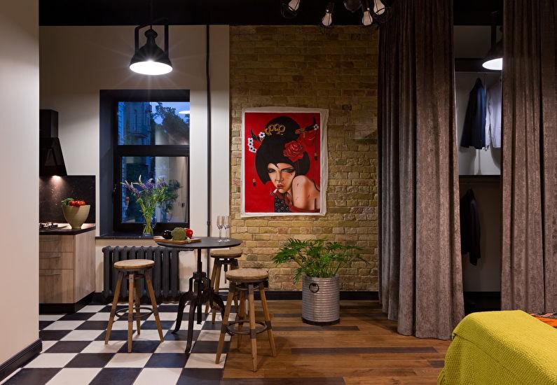Постер на кирпичной стене кухни в промышленной стилистике
