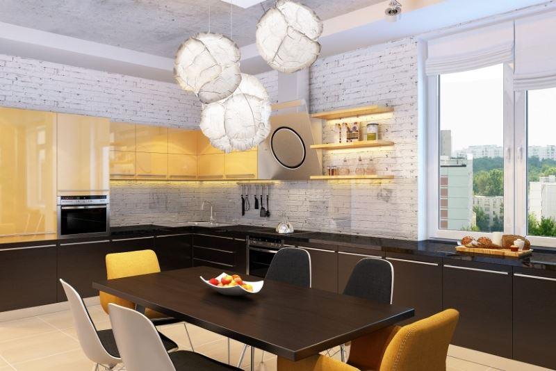 Дизайн кухни-студии в стиле лофт с оригинальными светильниками