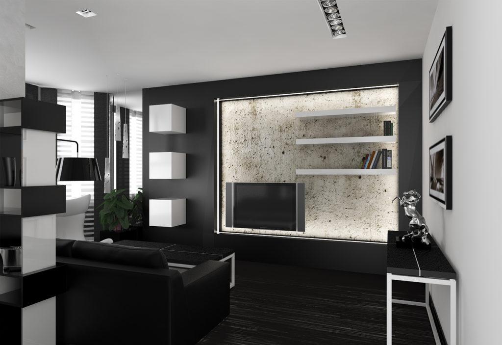 Дизайн спальни-гостиной в черном цвете