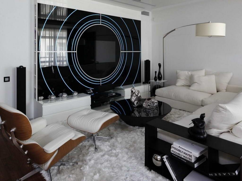 Черно-белый интерьер спальни-гостиной в стиле хай-тек
