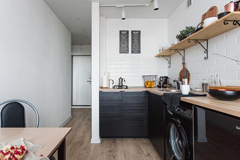 Черно-белый дизайн кухни в скандинавской стилистике