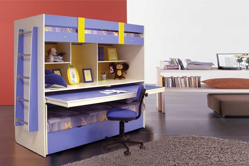Детская двухъярусная кровать с письменным столом