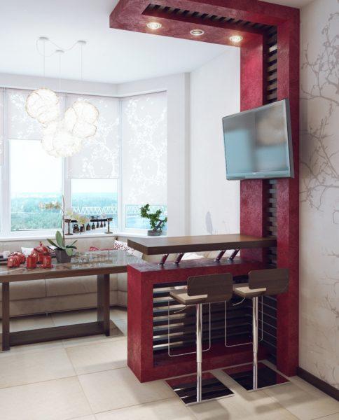 Дизайн кухни с балконом в бордовом цвете