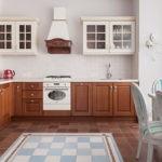 Керамический пол на кухне частного дома