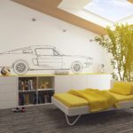 Рисунок автомобиля на белой стене детской комнаты