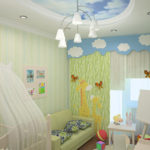 Мольберт и кроватка для новорожденного в одной комнате