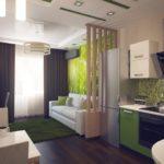 Темно-зеленый ковер на полу кухни