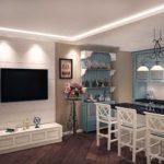 Барные стулья на кухне в стиле прованс