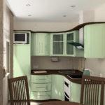 Сочетание коричневого цвета с салатовым в отделке кухонного гаринтура