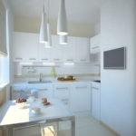 Белая кухня в стиле минимализма