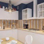 Дизайн кухни с фартуком в полоску