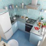 Современная кухня в голубых оттенках