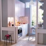 Сдвижные двери в кухне небольшой площади