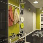 Серый цвет в дизайне вытянутого коридора