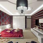 Полосатые обои в спальне модерн