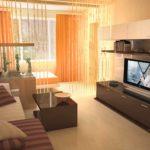 Оранжевый цвет в дизайне спальни-гостиной