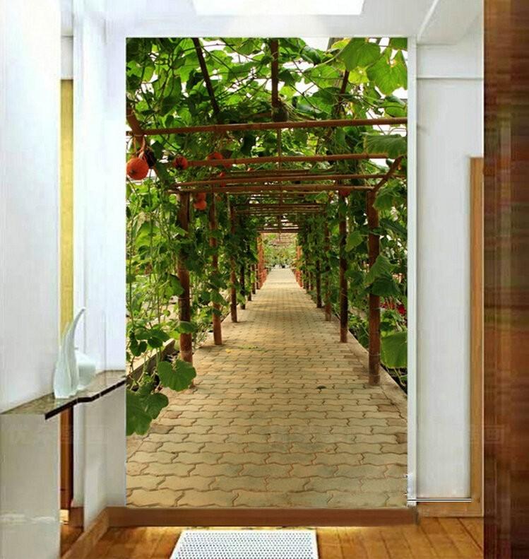 Фотообои па стене узкого коридора