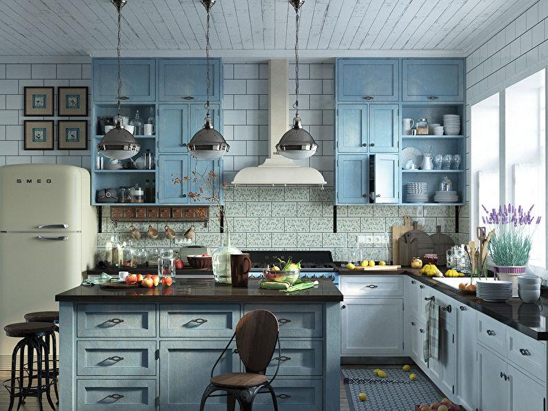 Светильники на подвесах над кухонным островом в стиле прованс
