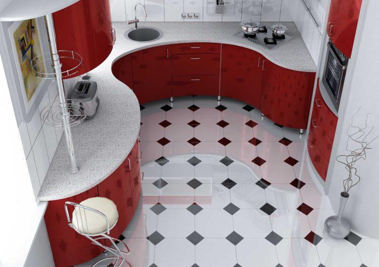 Керамический пол с глянцевой поверхностью в интерьере кухни
