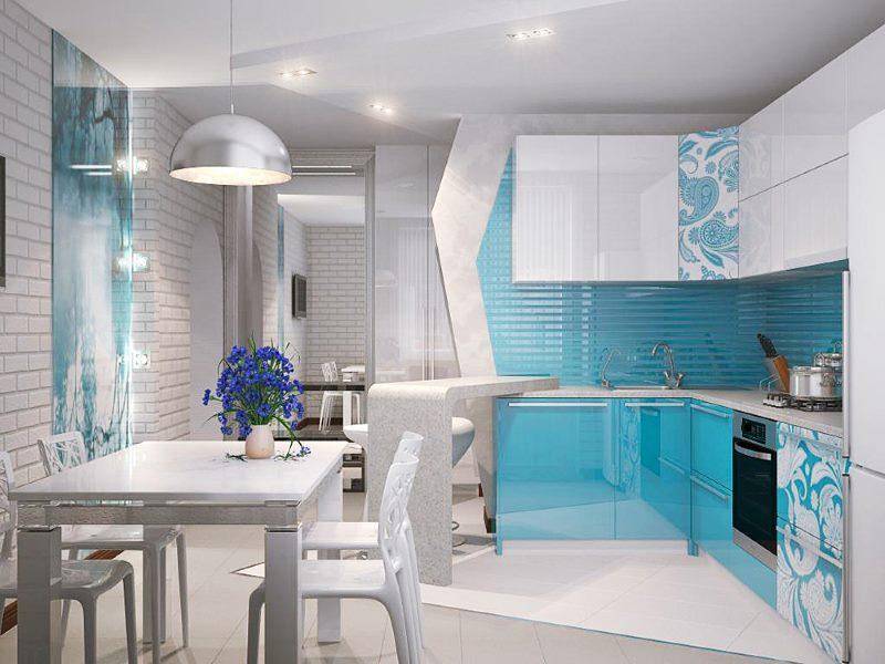 Светло-голубой цвет в интерьере кухни стиля модерн