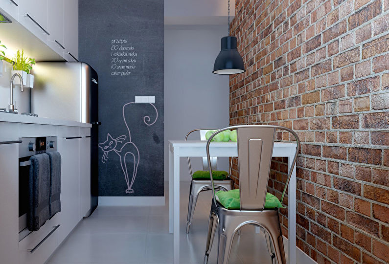 Светлая мебель на маленькой кухне в стиле лофт