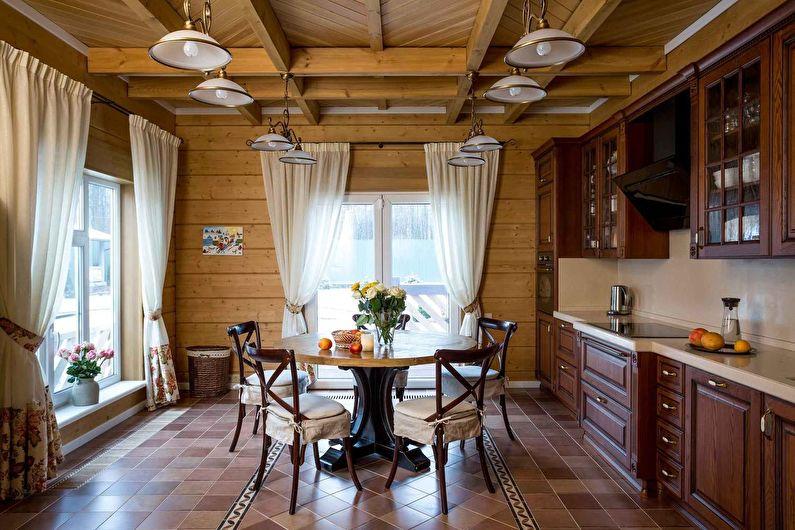 Деревянный потолок на кухне в стиле кантри