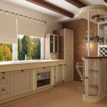 Кухня в классическом стиле с барной стойкой