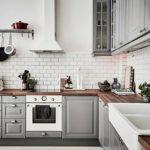 Серые дверцы кухонного гарнитура