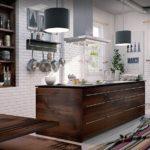 Темно-коричневая мебель в белой кухне