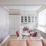 Оформление стены кухни с помощью фотообоев