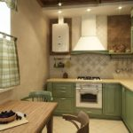 Оттенки зеленого цвета в интерьере маленькой кухни