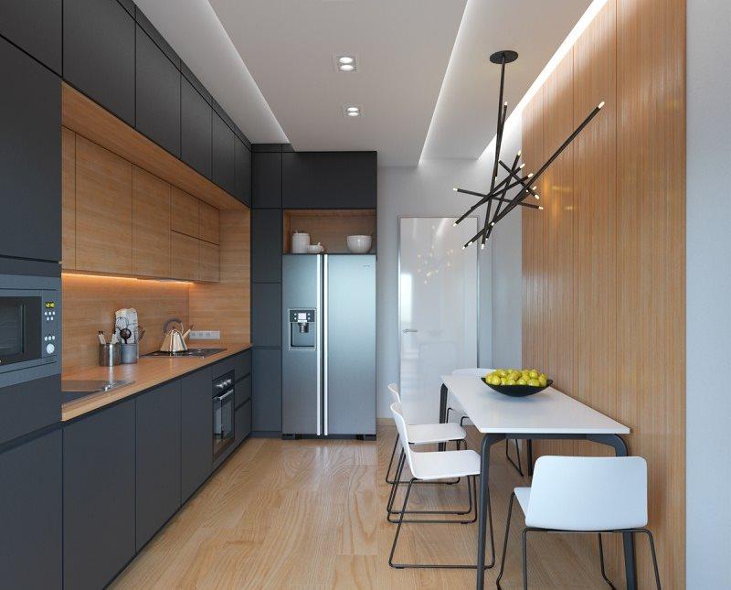 Дизайн кухни в стиле хай-тек с обеденным столом на четверых членов семьи