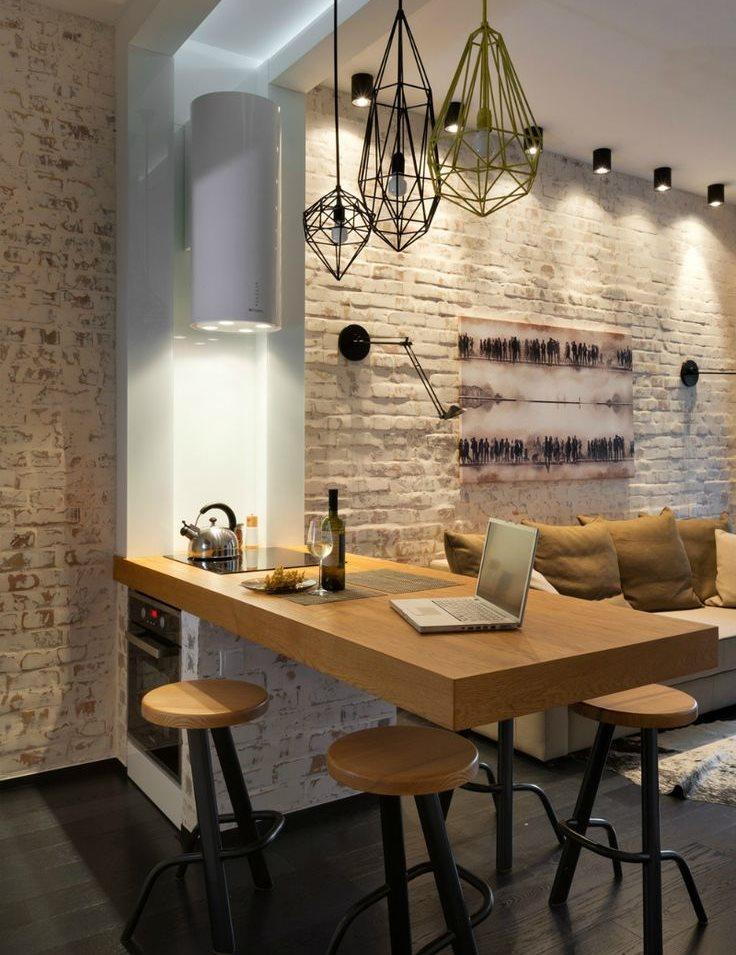 Оригинальные светильники из проволоки на кухне в стиле лофт