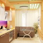 Кухня с продолжением, переделанным из балкона