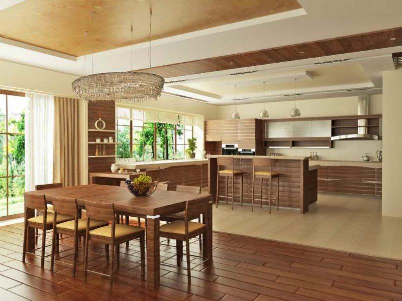 Использование дерева в отделке кухни