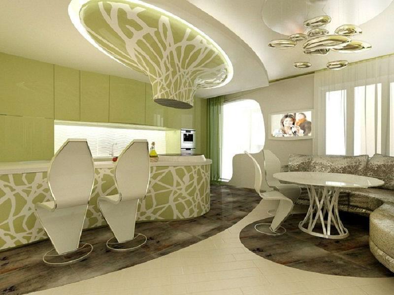 Интерьер кухни-гостиной в стиле бионика