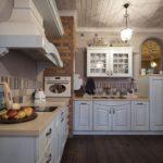 Кухня в стиле кантри с кирпичной трубой