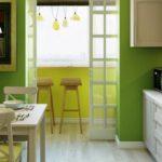 Кухня в зеленом цвете с переделанным балконом