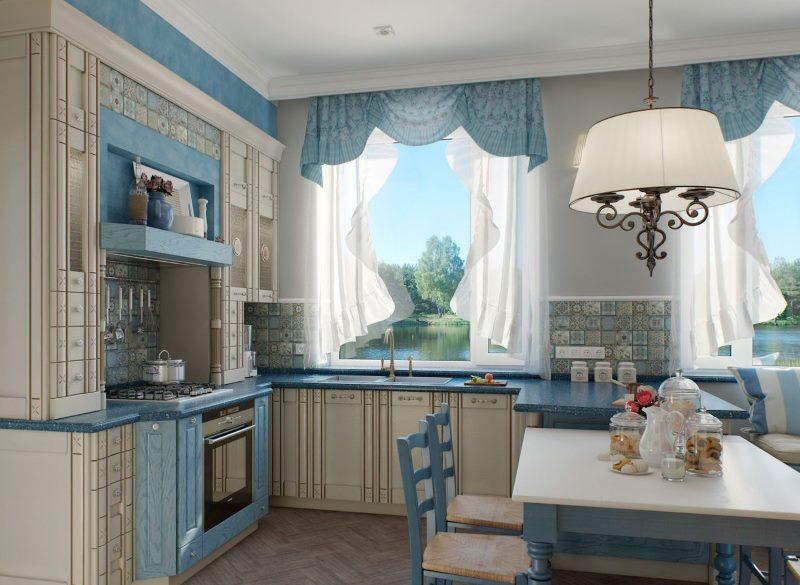 Легкие шторы на кухне в стиле прованс