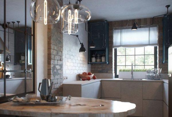Лофт-кухня с окном посередине