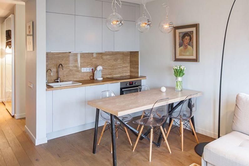 Белая кухня в скандинавском стиле небольшой площади