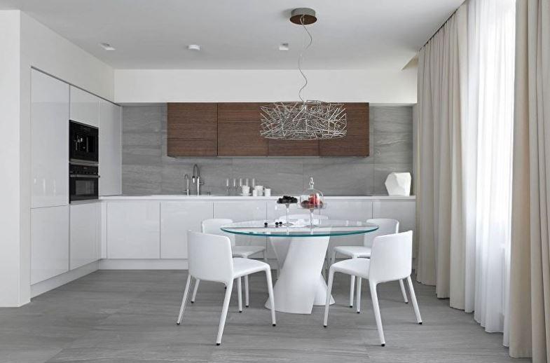 Кухонный гарнитур угловой планировки в стиле минимализма