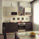 Небольшая кухня из шпонированного мДФ с использованием контрастного молочного дуба и цвета венге