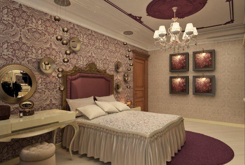 Использование двух типов обоев в спальне классического стиля