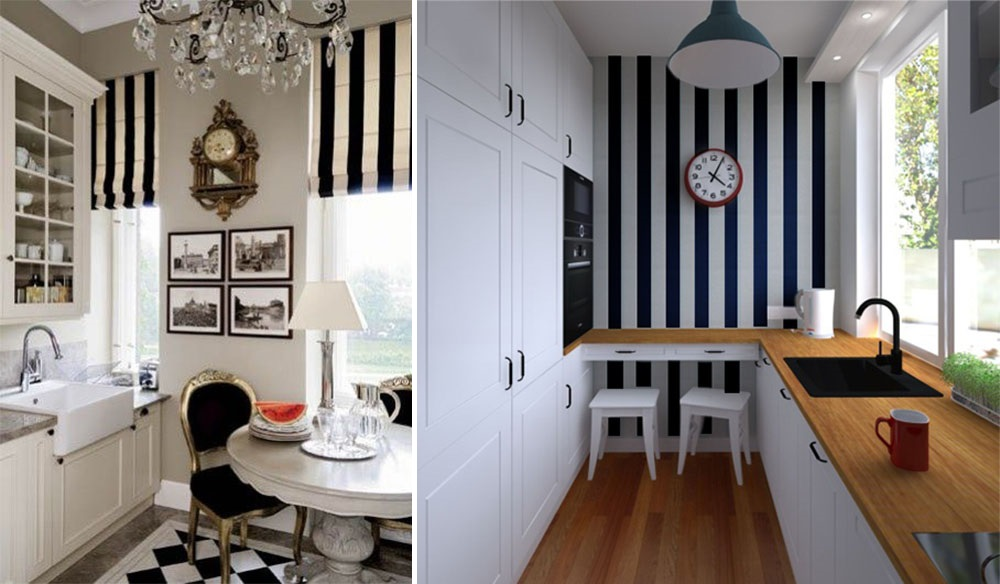 Визуальное увеличение пространства кухни с помощью вертикальных полос